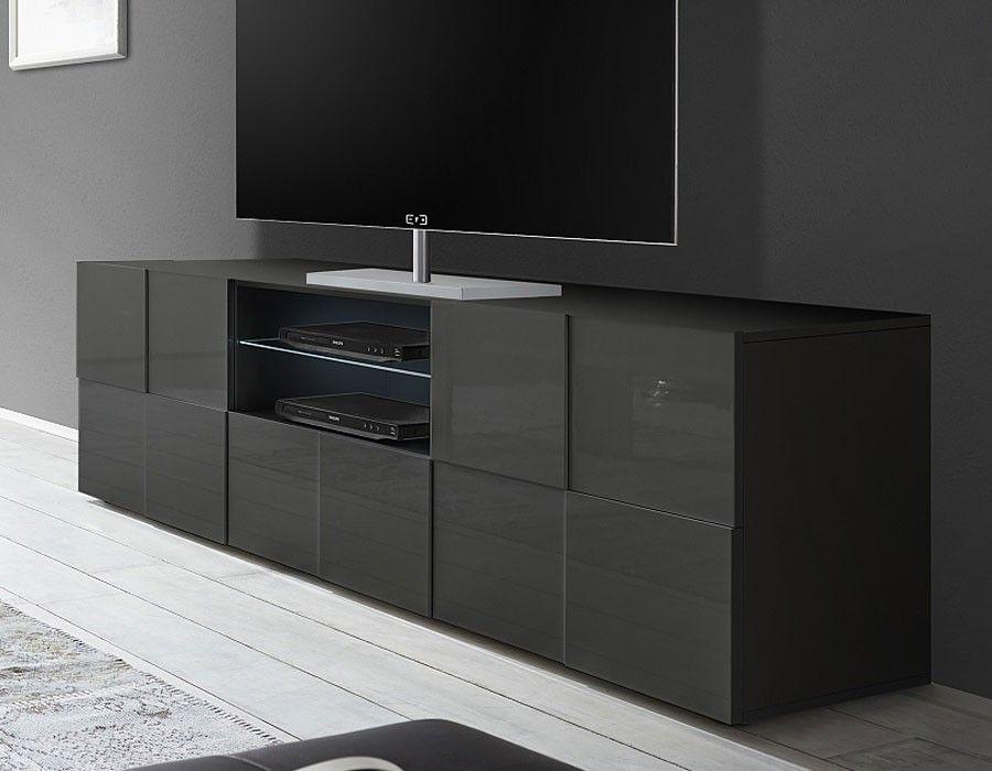 Grand Meuble Tv Design Gris Laque Atmore 2 Meuble Tv Design