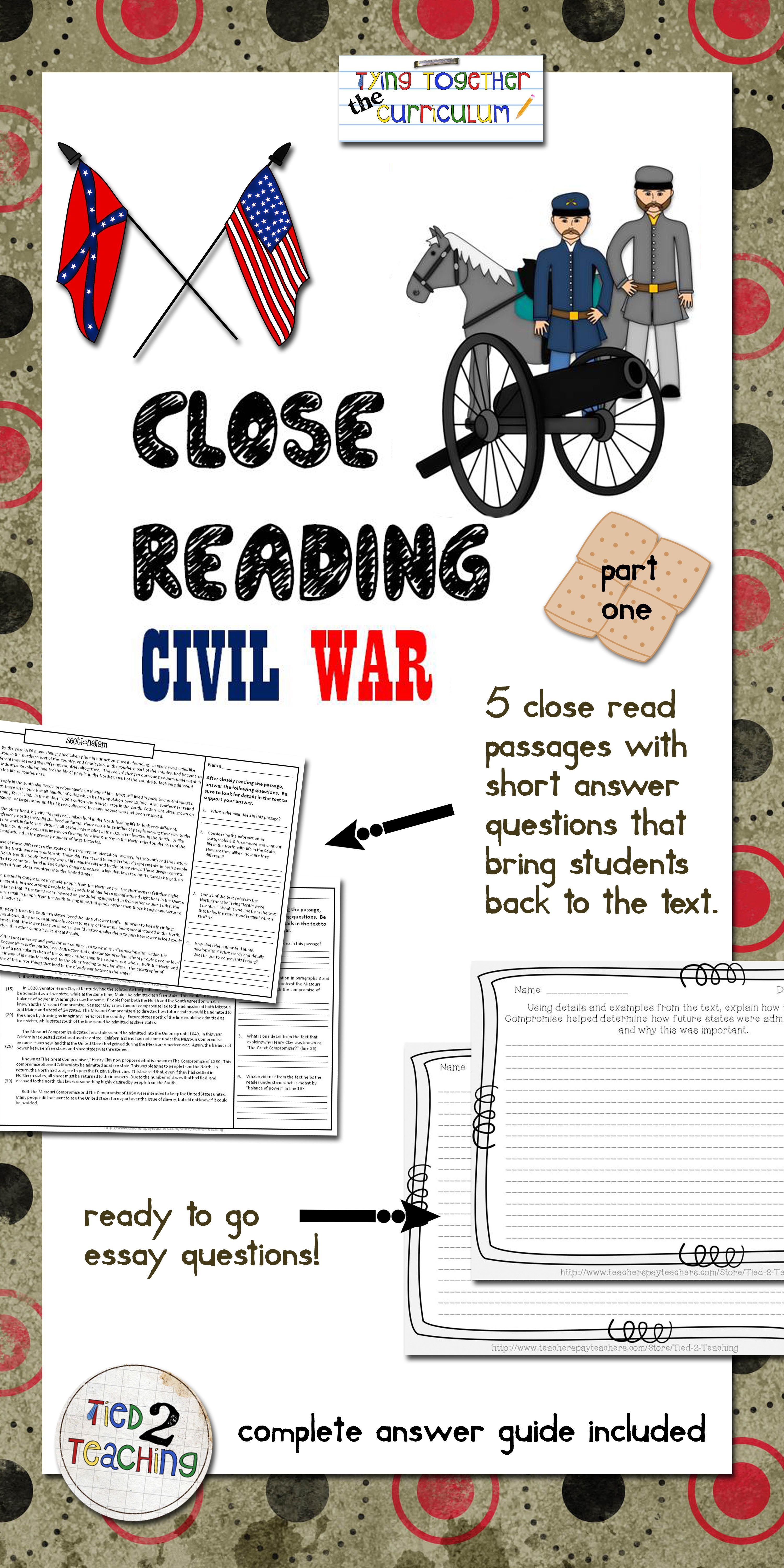 Civil War Close Reading With Writing To Text Prompts With