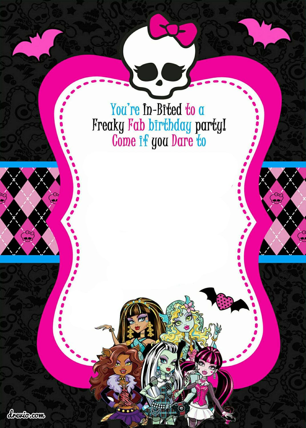 Download FREE Printable Monster High Birthday Invitations