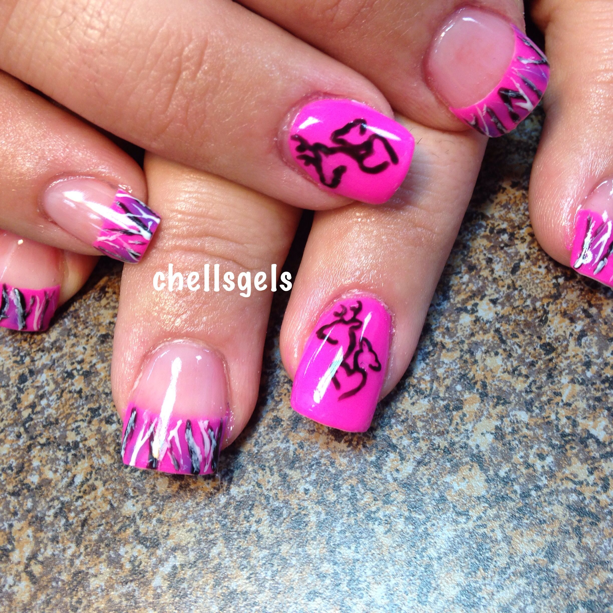 Muddy girl pink camo French tip nails with browning symbol deer ...