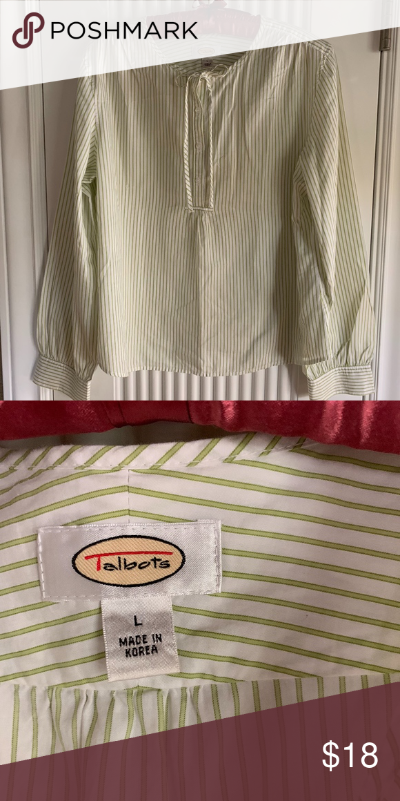 976454d457cd8 Talbots Spring Green Stripe Peasant Blouse 100% Cotton Talbots Peasant  Blouse. No wear signs - looks brand new. It s just too big for me.  Non-smoking home.