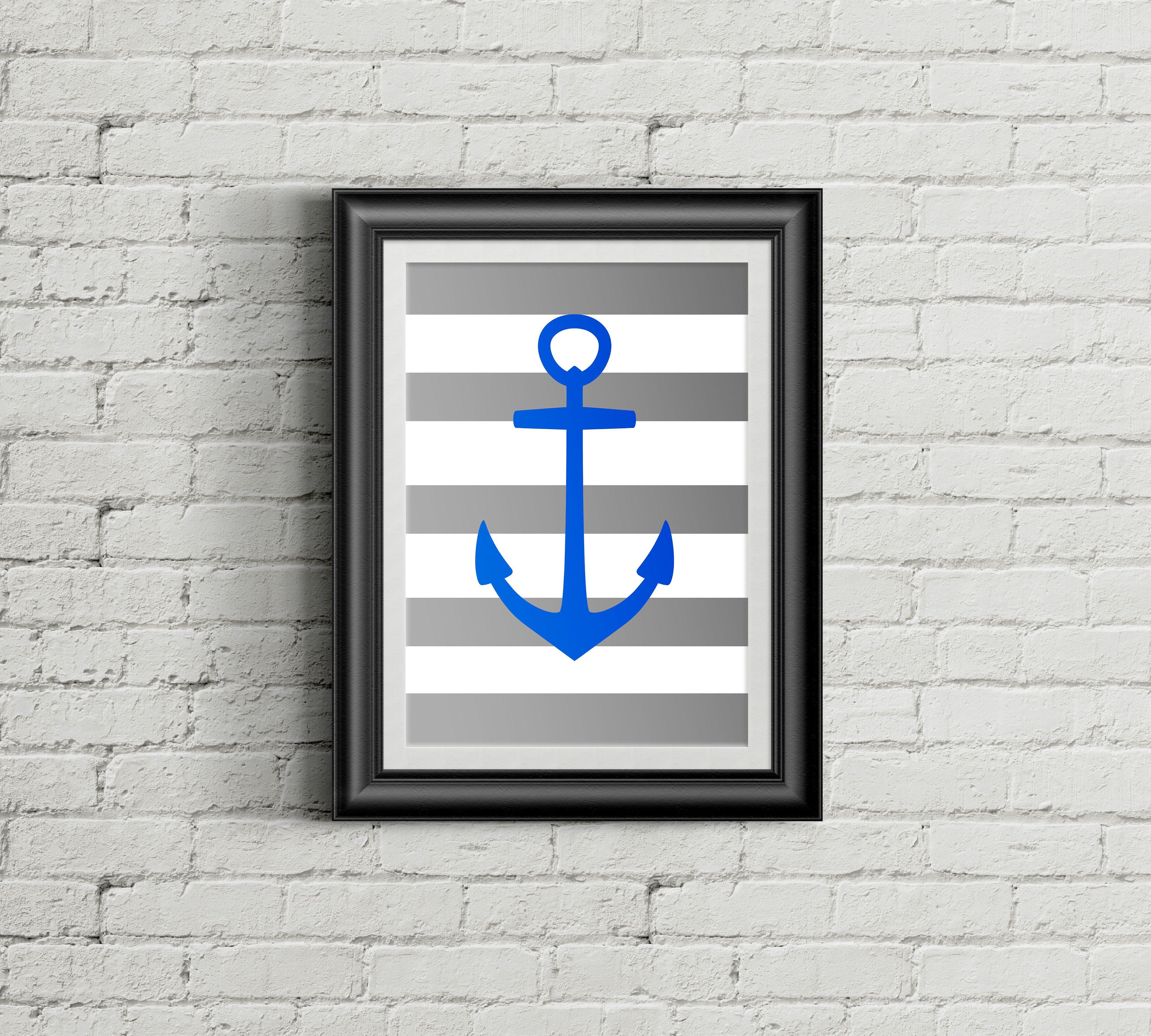 Nautical blue anchor print so much fun for a nursery nursery
