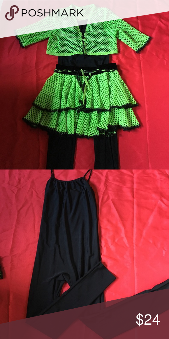 It's Totally Tubular 80's costume Hand sewn lime green skirt and coverlet top. One piece is a spandex adult med/large from Halloween Express Other