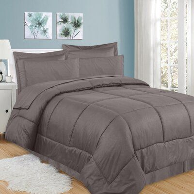 King, Chocolate 8 Piece Bed In a Bag Hotel Dobby Embossed Comforter Sheet set