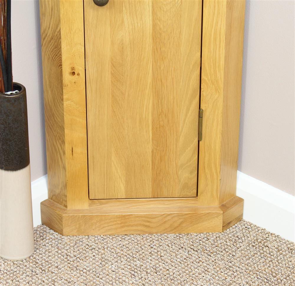 Solid oak corner cabinet storage unit telephone plant stand lamp