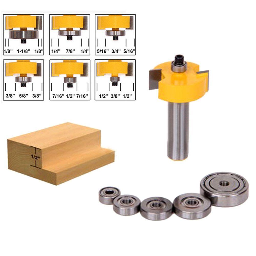 Slot Slotting Rabbeting Rabbet Router Bit Shank Milling Cutter Tools 6 Bearings