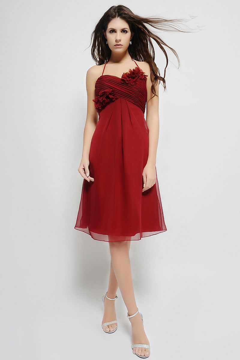 Above the knee length chiffon gown with sweetheart neckline the above the knee length chiffon gown with sweetheart neckline the ruched bodice is bridesmaid dresses 2014red ombrellifo Image collections