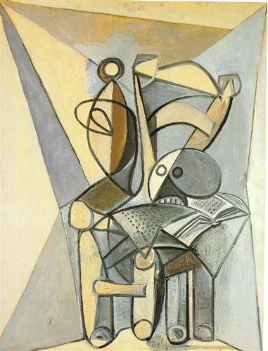 1946 Naturaleza muerta on el cráneo en un sillón. Cubismo. Surrealismo