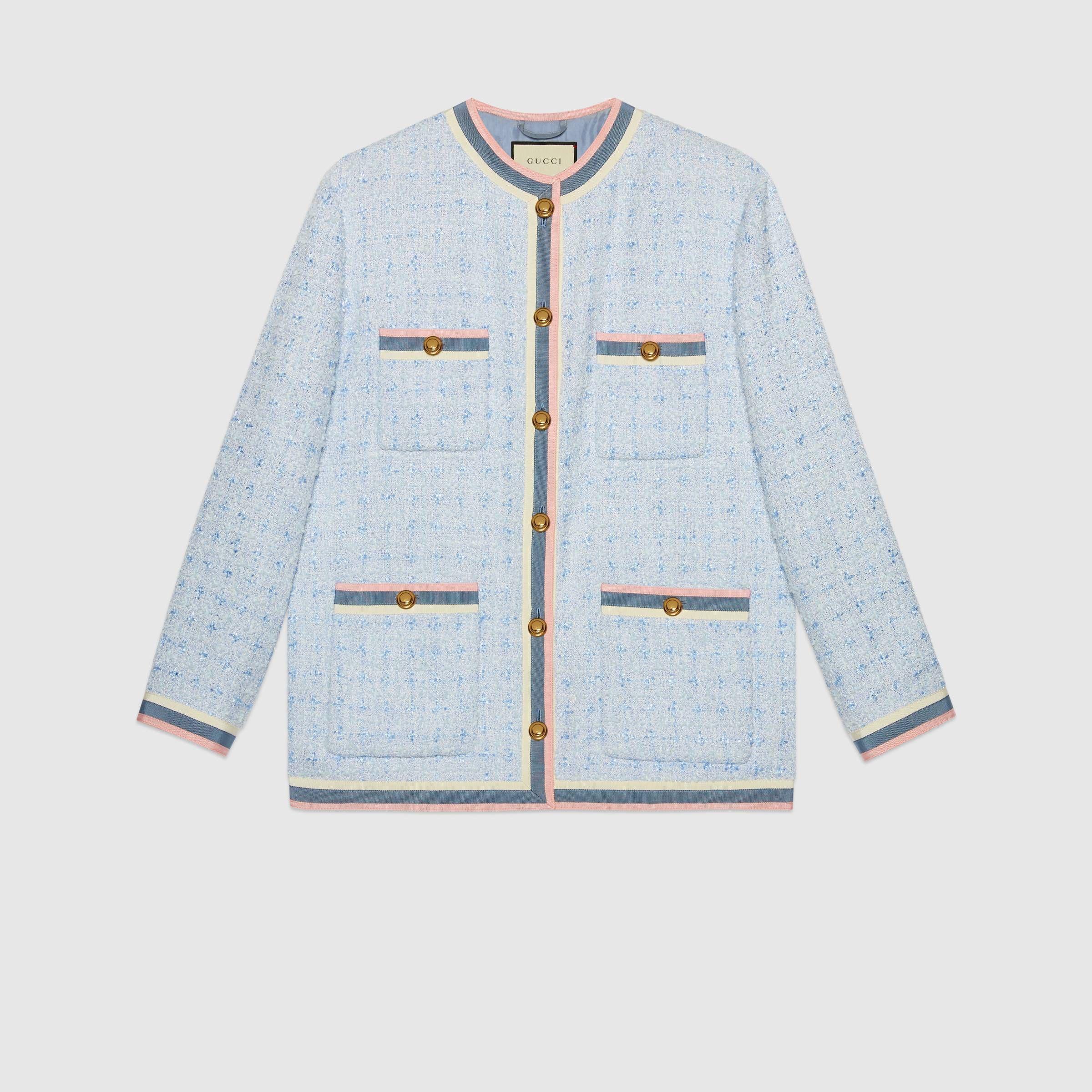 Tweed Jacket In Light Blue Pastel Tweed Gucci Women S Jackets Tweed Jacket Jackets For Women Jackets [ 2400 x 2400 Pixel ]