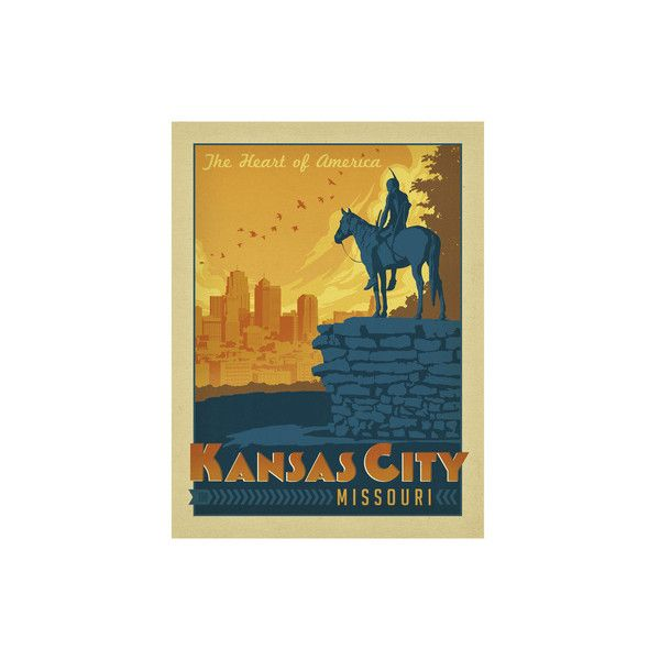 Kansas City, Missouri Wall Art Print ($10) ❤ liked on Polyvore ...