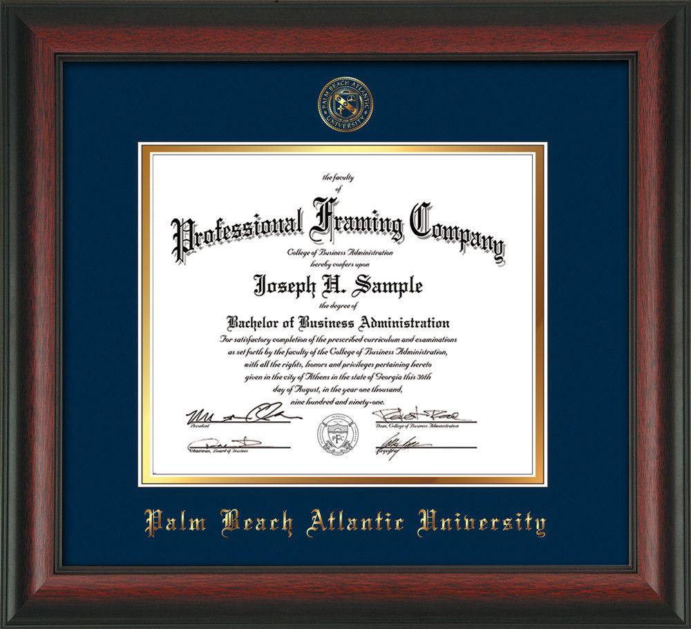 palm beach atlantic university diploma frame rosewood w  palm beach atlantic university diploma frame rosewood w embossed seal navy on gold mats