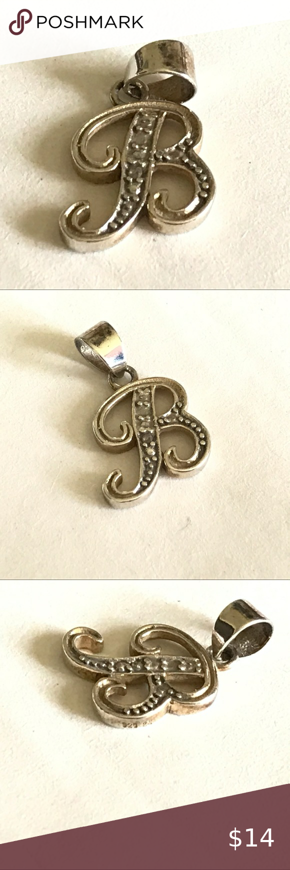 Sterling Silver Diamond Initial Letter B Pendant Initial Jewelry Necklace Silver Diamonds Womens Jewelry Necklace