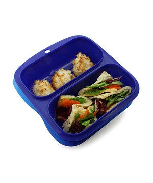 Little ones can munch on lunch in this supersmart and durable food container. Made entirely of FDA-approved recyclable materials, this convenient tray keeps snacks separated in two handy compartments that are perfect for measuring out healthy and well-balanced meals.