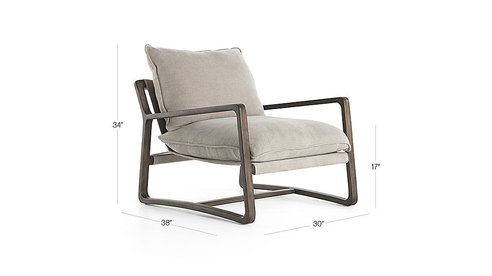 Image With Dimension For Ace Ivory Accent Chair Accent Chairs Chair
