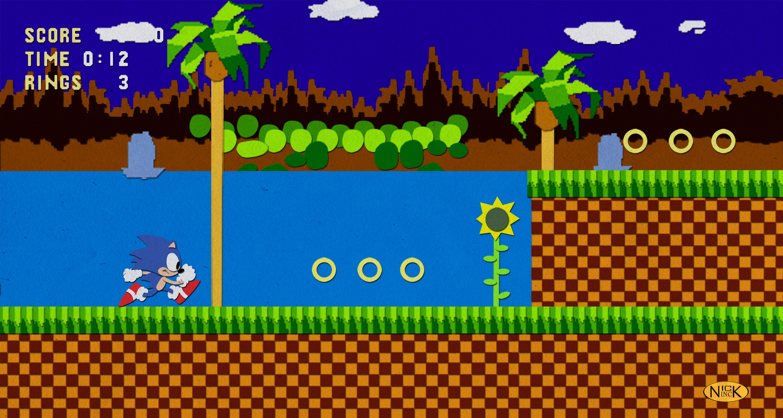 Paper Green Hill Zone By Darthblinx Classic Sonic Retro Gaming Sonic Cake