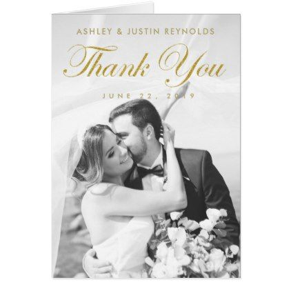Chic Modern Gold Photo Wedding Thank You Note Card Note cards