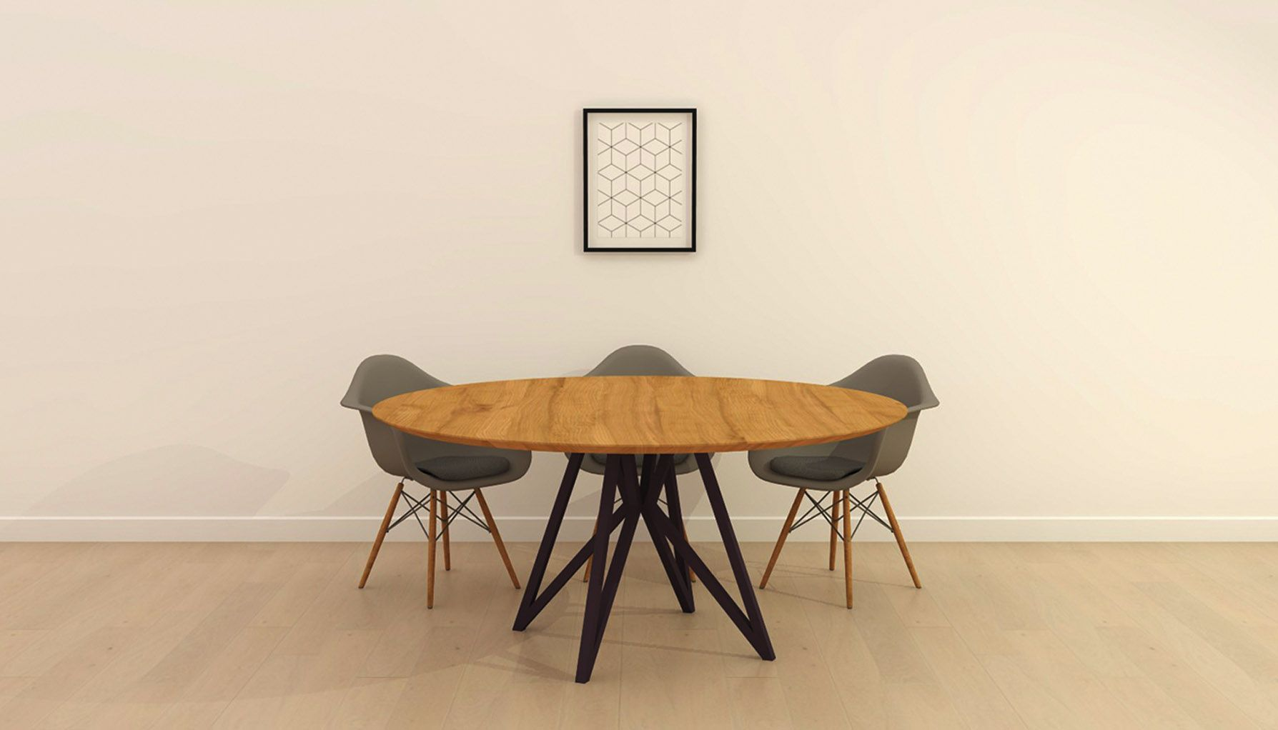 Stalen Design Tafel.Design Tafel Rond Butterfly Vlinder Quadpod Zwart Naturel Lak Studio
