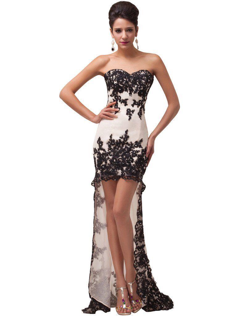 Grace Karin Women S Strapless High Low Ball Gown Evening Dress At Amazon Women S Clothing Store Lace Long Gown High Low Ball Gown Evening Dresses Long [ 1024 x 788 Pixel ]