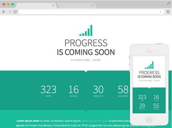 Progress Free Coming Soon Website Template