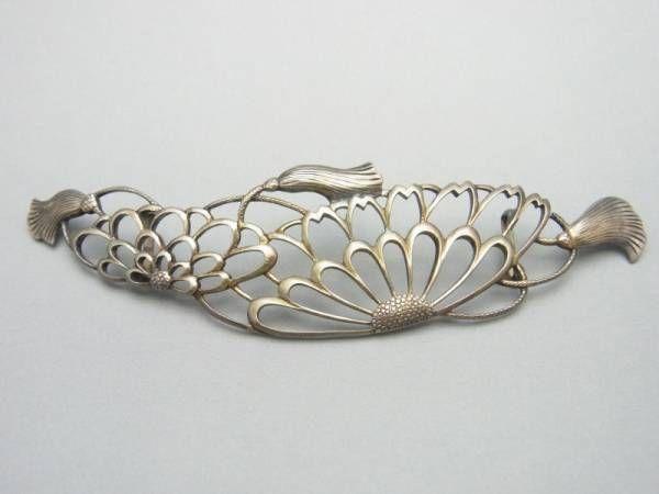 A 帯留め 金工透かし菊花紐 9cm アンティーク 和装小物 ヤフオク