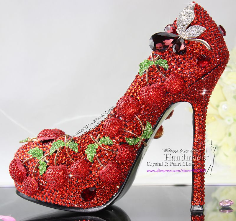 Handmade Red Shoes with Crystal Cherry from Reliable red wedding ...