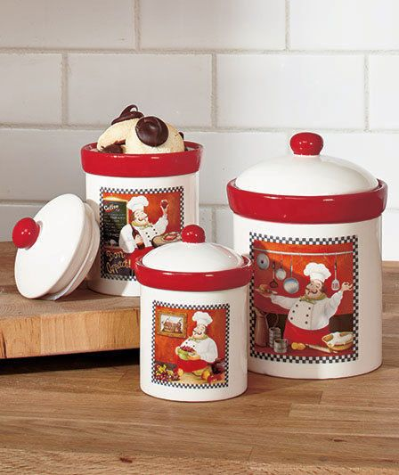 Cheap Kitchen Decor Sets: Details About Fat Chef Canisters Set Italian Bistro Cookie