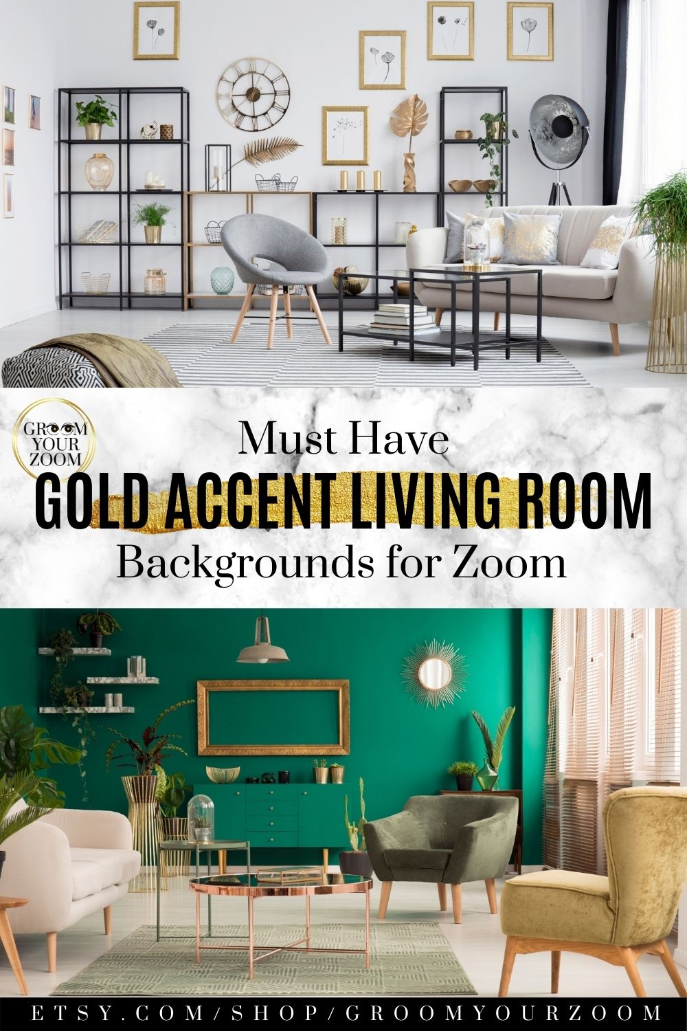 Gold Accents Living Room Zoom Background 4 Virtual Etsy In 2020 Gold Accents Living Room Living Room Background Living Room Accents