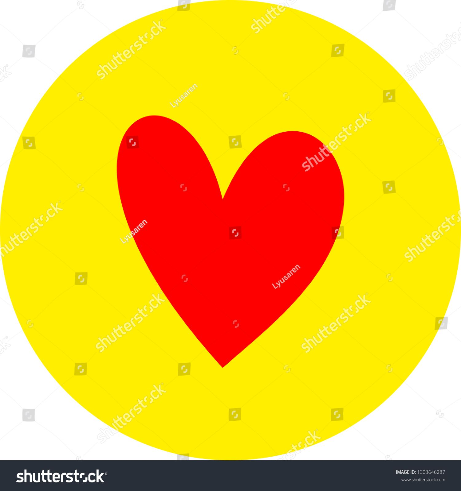 Heart Shape Flat Color Icon In Round Outline Romantic Love Symbol Yellow Circle Button With A Red Heart V Love Symbols Heart Shapes Brochure Template Layout