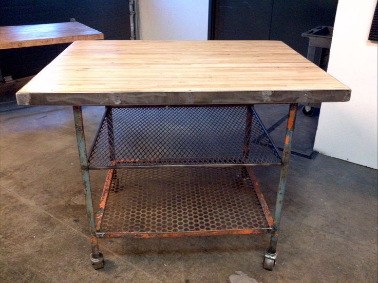 Repurposed Furniture For Sale | Industrial Rolling Island. Repurposed Bowling  Alley Top, Steel Base. $ .