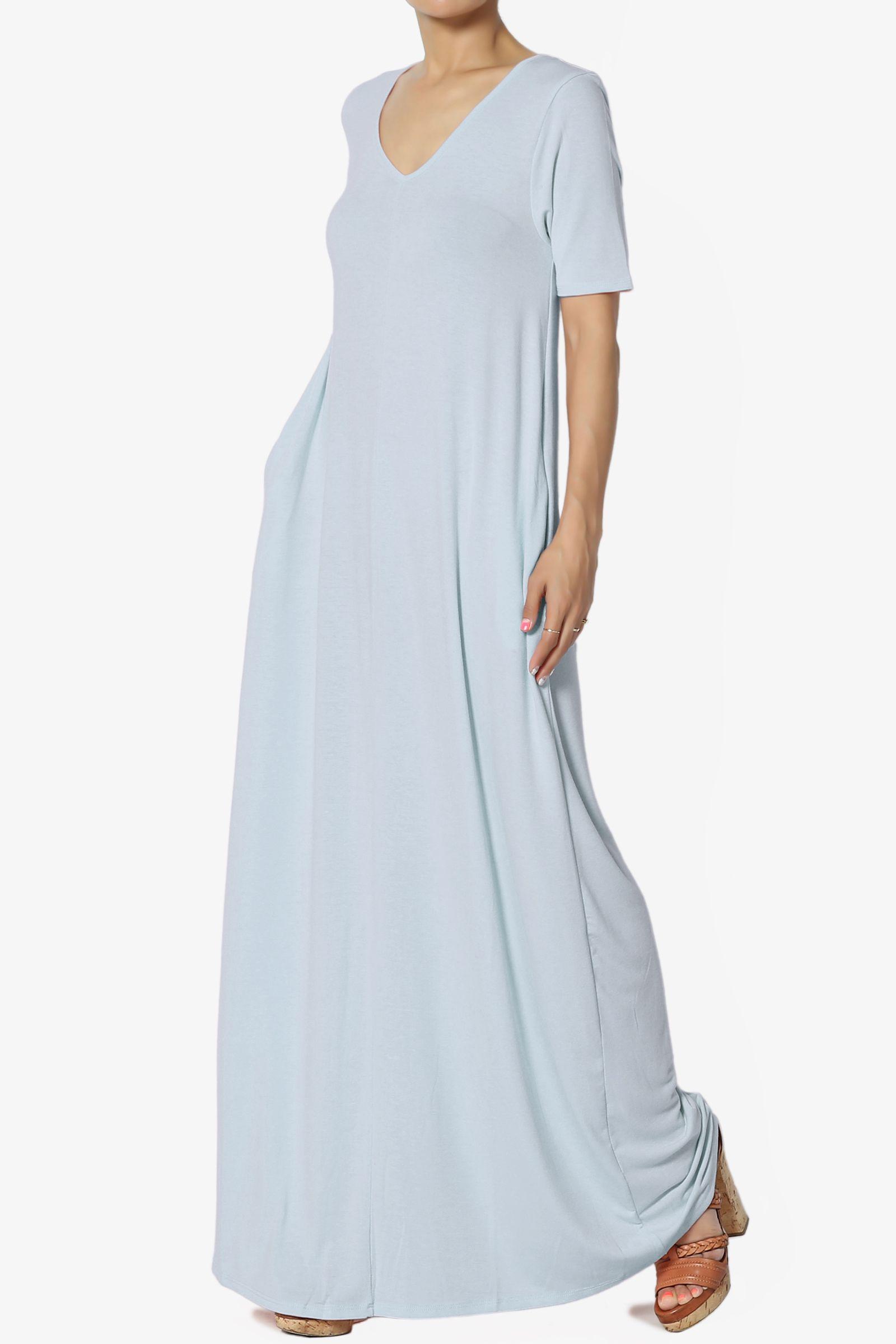 Themogan Women S S 3x Soft Jersey Oversized V Neck Short Sleeve Maxi Dress W Pocket Ad Je Maxi Dress With Sleeves Short Sleeve Maxi Dresses Maxi Jersey Dress [ 2400 x 1600 Pixel ]