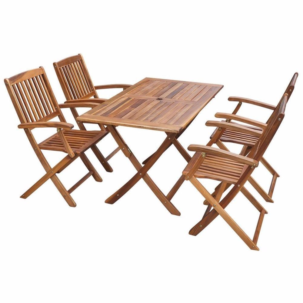 Teak Outdoor Dining Set Balcony Table And 4 Folding Chairs Furniture Patio  Set