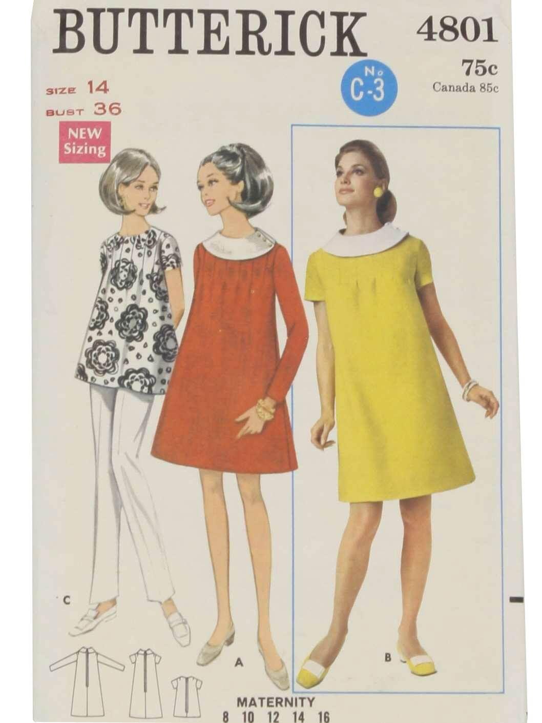 78e6258e00b29 Vintage 1960's Sewing Pattern: c.1968 -Butterick Pattern No. 4801- Womens  sewing…