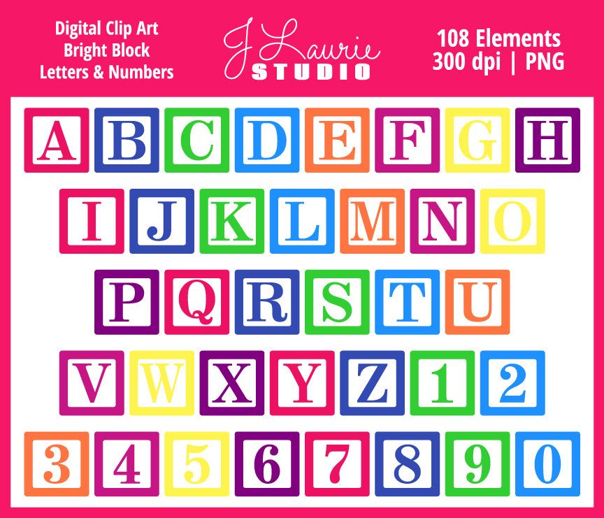 Digital Alphabet Letters ClipartBright Block LettersBaby Blocks