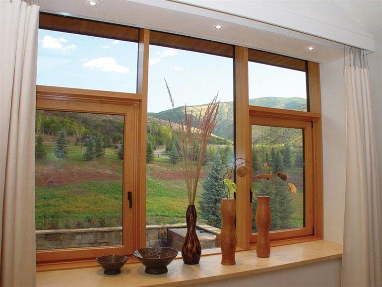 Build out a shelf ledge with little drop down legs to for Ventanas de aluminio color madera precios