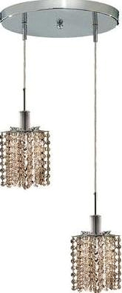 Elegant Lighting 1282d R P Gt Mini 2 Light Crystal Pendant