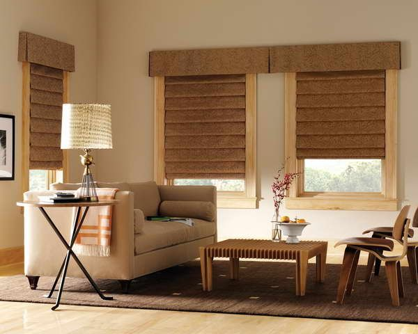 fabric window shades with decorative lighting  Fabric window