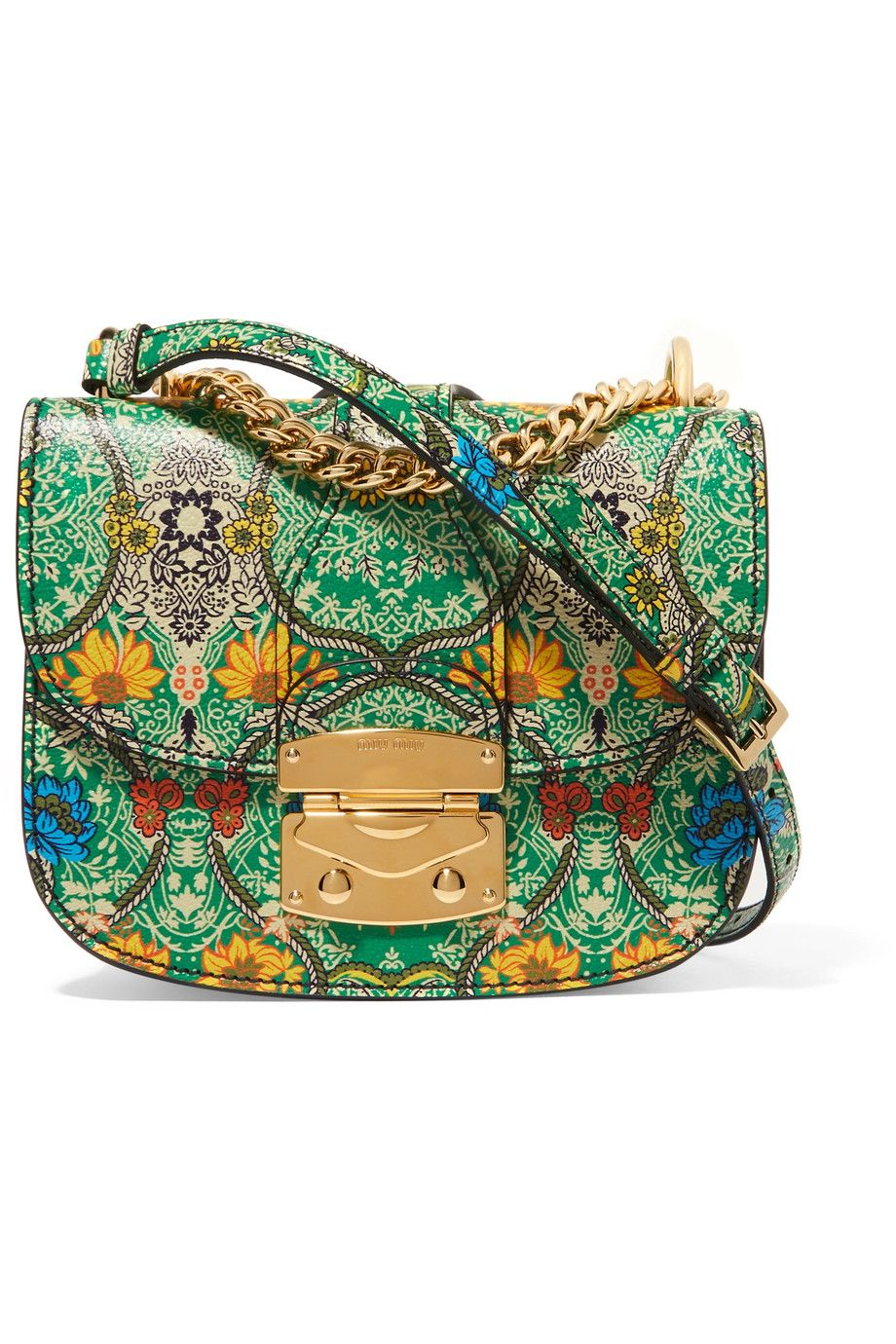 MIU MIU Madras floral-print textured-leather shoulder bag   Bags ... df135e78ea