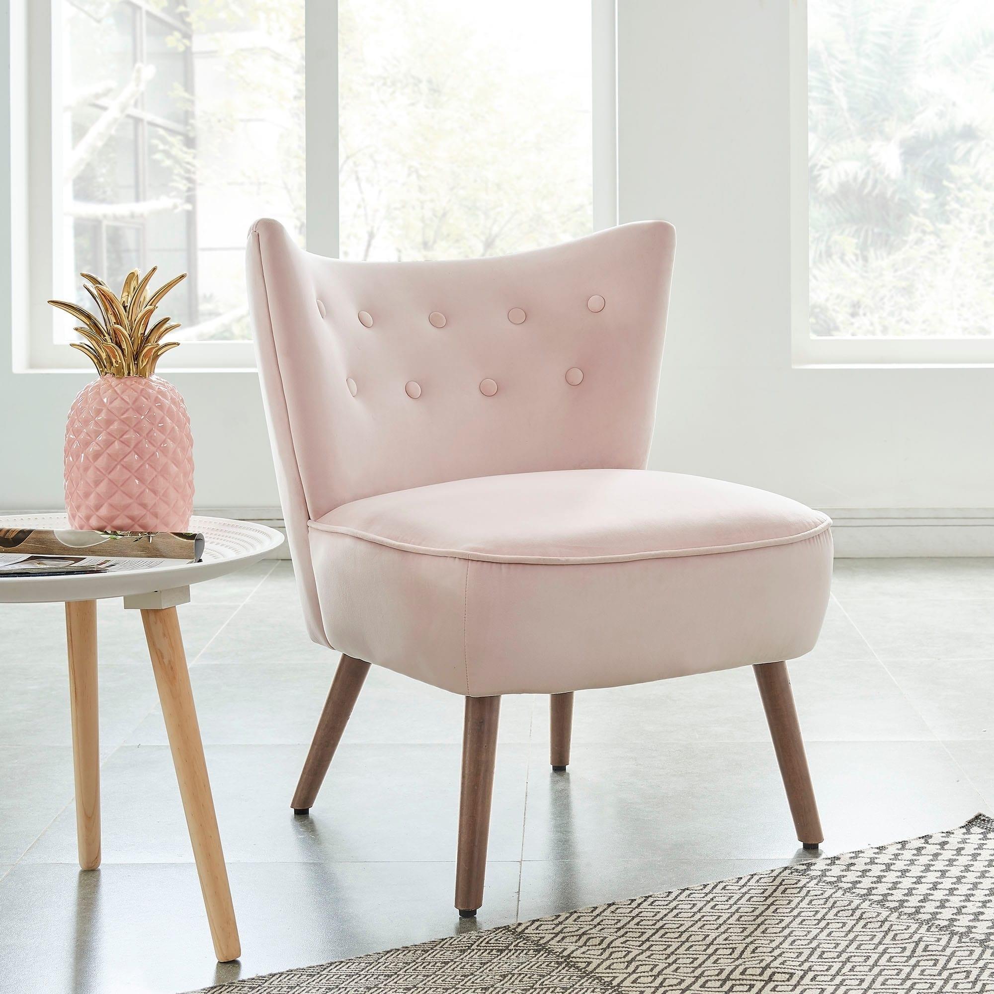 Best Elle Accent Chair Blush Pink Fabric Velvet Accent 400 x 300