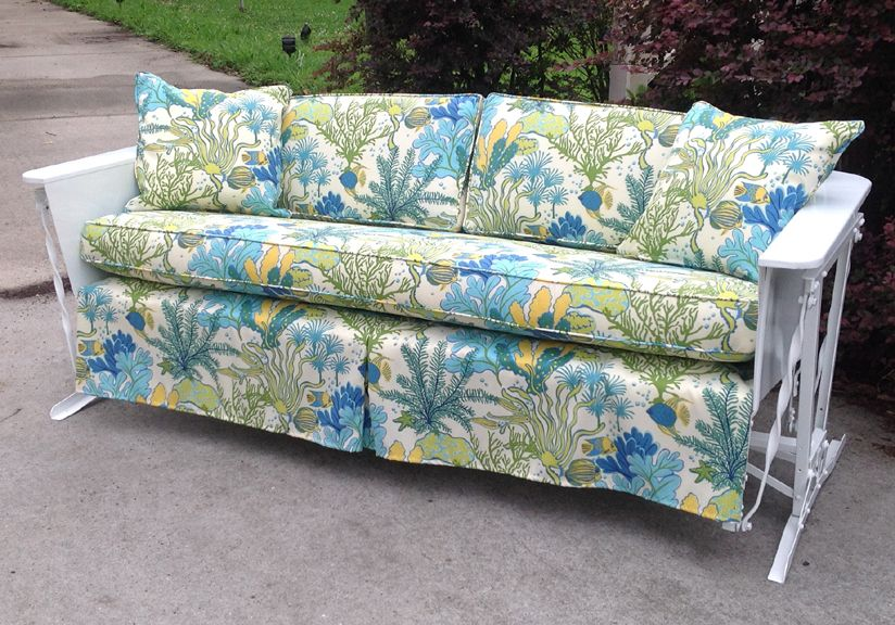 1930s Cushioned Glider Glider Cushions Vintage Porch Metal Chairs