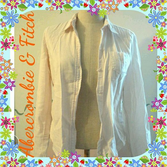 Abercrombie and Fitch 100% cotton Woman's Shirt 100% cotton lightweight white Abercrombie and Fitch shirt detailed with pastel pink and yellow stripes. Worn twice. Abercrombie & Fitch Tops