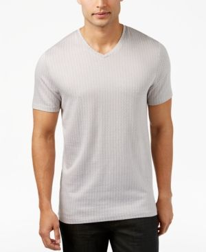 Alfani Collection Men's Mercerized Textured Crew Neck T-Shirt, Only at Macy's - Tan/Beige XL