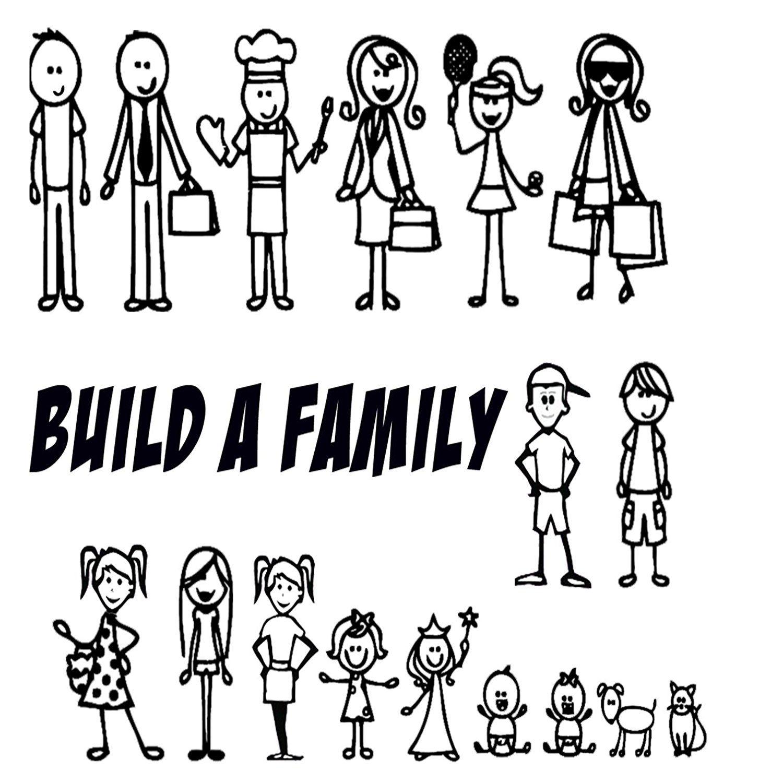Amazon Com All 17 Your Stick Figure Family Funny Car Vinyl Decal Sticker Figures Range From 5 1 2 High By 2 Dibujos Sencillos Volante De Fiesta Monigotes