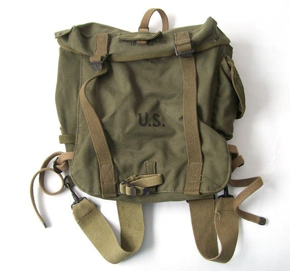 vintage 1940 s US army backpack military tote bag mens womens green ... 7e9508dccf6b2