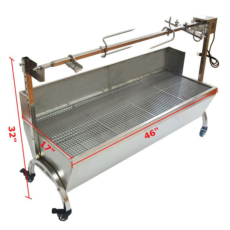 Details About Large Stainless Steel BBQ Spit Roaster