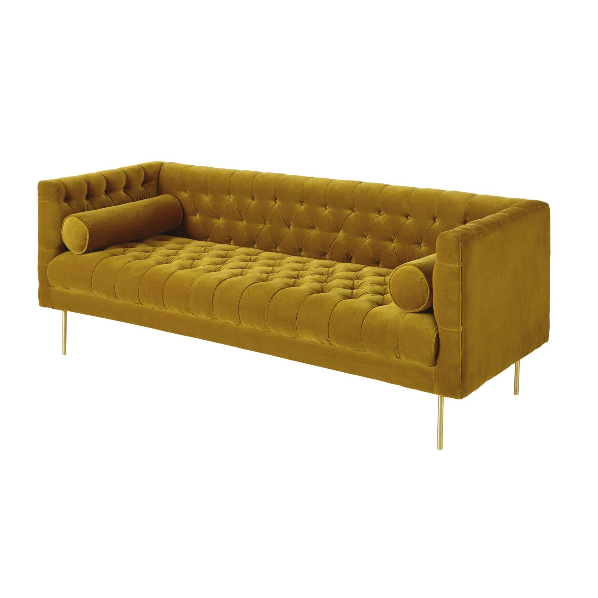 Canape 3 Places En Velours Jaune Moutarde Furniture Decor Sofa
