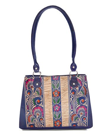 Look what I found on #zulily! Blue Floral Hand-Painted Leather Tote #zulilyfinds