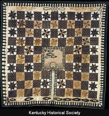 The Coffin Quilt A Mourning Quilt Made By A Kentucky Woman In The Mid 1800s Note The Cemetery In The Center With Co Vintage Quilts Old Quilts Antique Quilts
