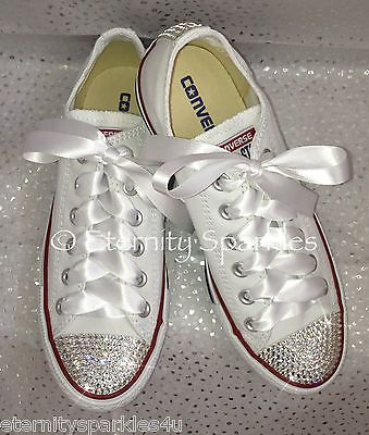 92c52373b26414 Customised White Crystal Diamante Bling Converse All Star Lo Ribbon Laces  UK 3-7