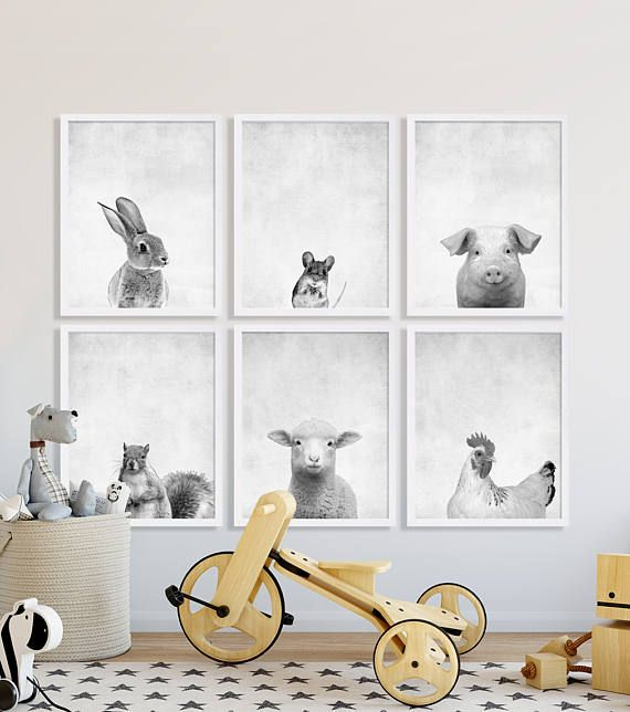 Animal Nursery Prints Large Art Modern Decor Portraits Baby Shower Gift Ideas Bunny