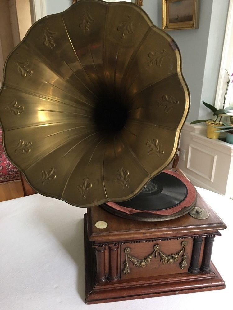 Antique Hmv Melba Gramophone With Horn Collectibles Radio Phonograph Tv Phone Phonographs Accessories Ebay Antiques Gramophone Decor